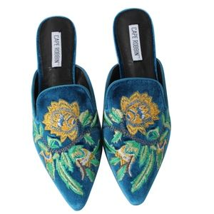 Shoes - Peacock Floral Embroidered  Slip on Mules
